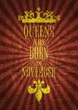 Vintage queens crown silhouette and sentence Royalty Free Stock Photography