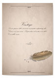 Vintage quill on old paper.  illustration Stock Photography