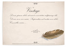 Vintage quill on old paper. vector illustration Royalty Free Stock Photo