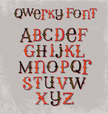 Vintage quirky hand drawn font with mixed upper and lower case letters. Hand drawn font with mixed upper and lower case letters, embellished with dots and Stock Image