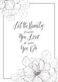 Vintage quote calligraphy card with anemone. Vector vintage quote with anemone in frame. Detailed graphic drawing. Motivated phrase for invitation Stock Photography