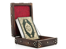 Vintage Quran Box. Holy Quran Book in Wooden Box royalty free stock photo