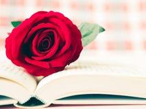 Vintage rétro de la rose de rouge sur le livre ouvert Photo stock