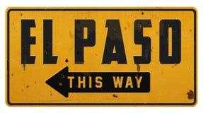 Vintage rústico Rerto del Grunge de la placa de calle de El Paso Tejas TX fotos de archivo libres de regalías