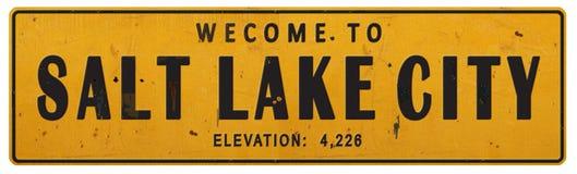 Vintage rústico Rerto del Grunge de la placa de calle de Salt Lake City Utah ilustración del vector