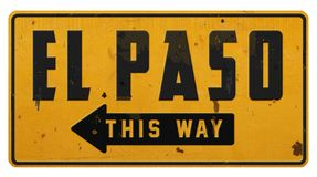 Vintage rústico Rerto do Grunge do sinal de rua de El Paso Texas TX fotos de stock royalty free
