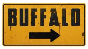 Vintage rústico Rerto do Grunge do sinal de rua de New York NY do búfalo fotos de stock royalty free