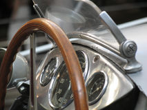 Vintage race car. Silver wooden cockpit Royalty Free Stock Images