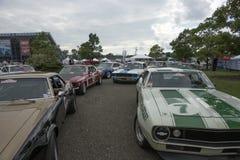 Vintage race car participants Stock Photo