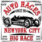 Vintage race car print man t shirt vector graphic design Stock Photo