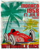 Vintage race car for printing.vector old school race poster.retr Stock Image