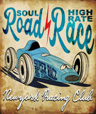 Vintage race car for printing.vector old school race poster.retr Royalty Free Stock Image