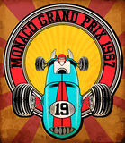 Vintage race car for printing.vector old school race poster. Stock Photo