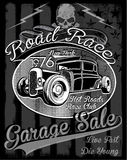 Vintage race car for printing.vector old school race poster. Stock Photography