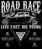 Vintage race car for printing.vector old school race poster. Royalty Free Stock Images