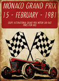 Vintage race car for printing.vector old school race poster. Royalty Free Stock Image