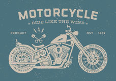 Vintage race motorcycle old school style. Poster Stock Photography