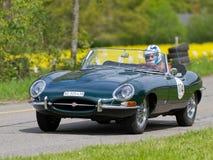 Vintage race touring car Jaguar E-Type from 1963 Stock Photos