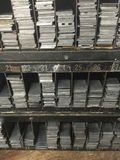 Vintage Racks of Letterpress Metal Spacers and Quoins Royalty Free Stock Image