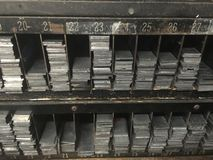 Vintage Racks of Letterpress Metal Spacers Royalty Free Stock Photos