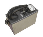 Vintage radiation geiger counter isolated. Royalty Free Stock Image