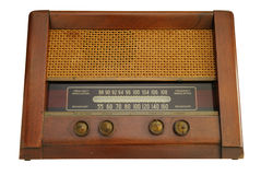 Vintage radio. Face view of the vintage radio made from wood stock photos