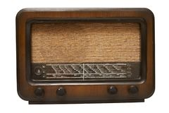 Vintage radio. Detail shot of a vintage radio with dials. Horizontal view Royalty Free Stock Photo