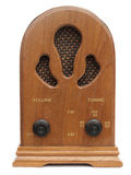 Vintage radio. Old wooden, retro, transistor radio isolated on white background Royalty Free Stock Photos