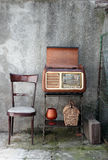 Vintage radio. Receiver cabinet  in a shabby  home interior Stock Image