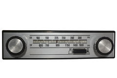 Vintage radio. Vintage auto radio over isolated background Stock Image