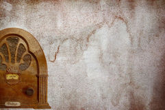Vintage radio background. Old vintage radio with grunge textured backdrop Stock Photos