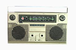Vintage radio cassette recorder, isolated on white Royalty Free Stock Image
