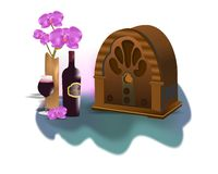 Vintage radio, cdr vector. Vintage radio, bottle and glass of wine, vase with orchids, vector format Stock Images