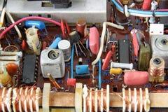 Vintage radio circuit. Old analog transistor radio sheme Royalty Free Stock Photography