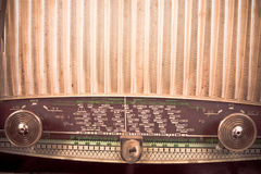 Vintage radio. Detail take of a vintage radio receiver dial with the names of different cities on it Stock Image