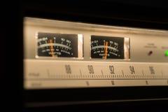 Vintage radio equipment showing VU meters. Vintage radio showing VU meters in action Royalty Free Stock Image