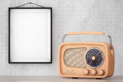 Vintage Radio in front of Brick Wall with Blank Frame Stock Photo