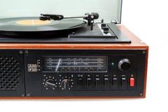 Vintage radio gramophone player with vinyl Stock Photos