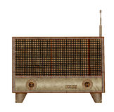 Vintage radio icon mulberry paper Stock Photo