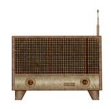 Vintage radio icon mulberry paper. Stick on white background Stock Photo