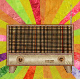 Vintage radio icon mulberry paper Stock Photos