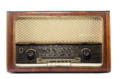 Vintage radio isolated on a white background. Old-fashioned vintage radio isolated on a white background Royalty Free Stock Photos