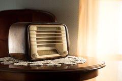 Vintage radio in the living room Royalty Free Stock Photography