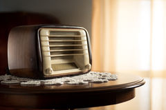 Vintage radio in the living room Royalty Free Stock Photo