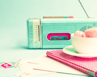 Vintage Radio, Macaroons And Book Royalty Free Stock Image