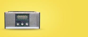 Vintage radio on pastel color background stock photos