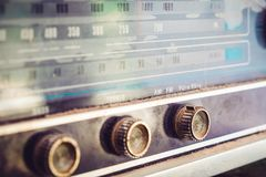 Vintage radio receiver. Close - up button of vintage radio receiver Stock Photos