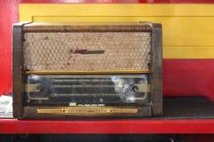 Vintage Radio receiver 1960 year. Vintage old retro Radio receiver 1960 yearon a motley background Royalty Free Stock Image