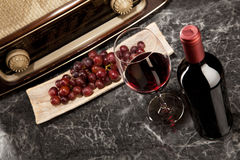 Vintage Radio and red Wine. Enjoying wine and listening to the radio Royalty Free Stock Photo