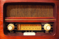 Vintage radio. Retro wooden radio with controllers Stock Images